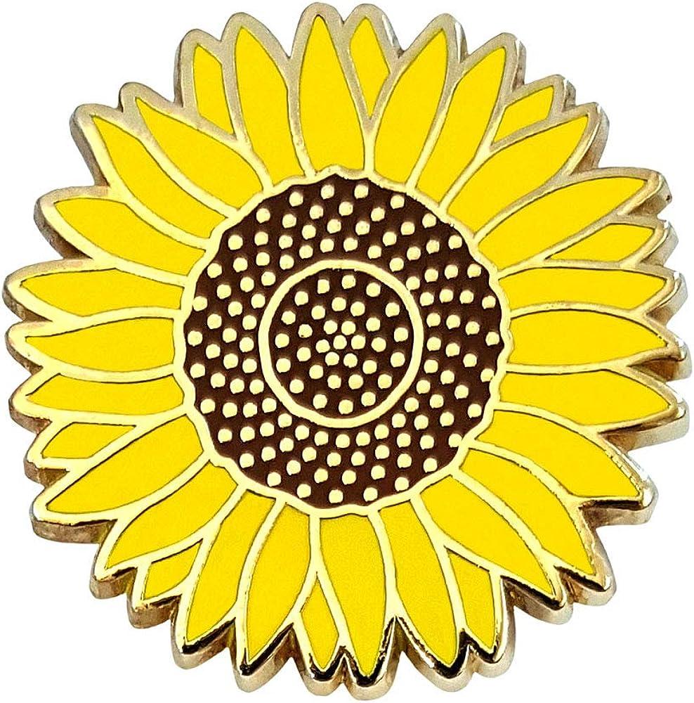 Pinsanity Yellow Sunflower Enamel Lapel Pin