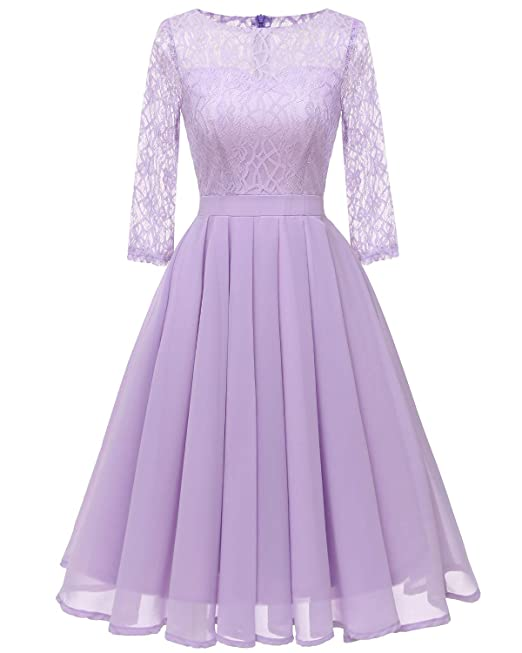 Bright Deer Womens Floral Lace Sheer Chiffon Elegant Party Cocktail Evening Dress