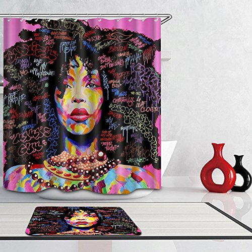 African American Shower Cutains - Woman Abstract Print Waterproof Mildew Resistant Fabric Polyester Bath Curtain for Hip Pop Art Bathroom Decor 66x72 - Pop Art Hip