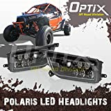 Optix 2015-2017 Polaris RZR 1000 XP Style Black LED Headlight - Fits Polaris General and Polaris RZR
