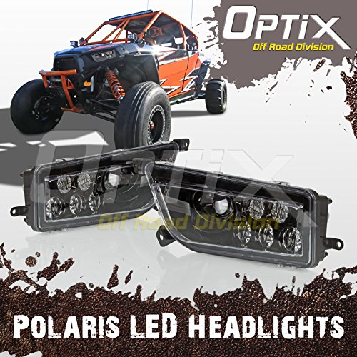 Optix 2015-2017 Polaris RZR 1000 XP Style Black LED Headlight - Fits Polaris General and Polaris RZR by Optix Autolabs