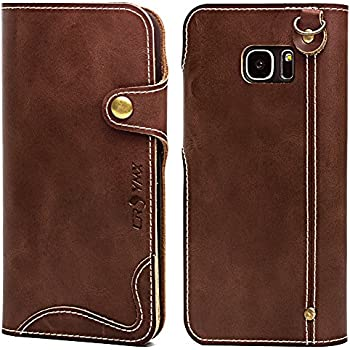Galaxy S7 Wallet Leather Case , Genuine Cowhide Handmade Protective Vintage Flip Folio Cover with Snap Magnetic Closure and Hand Strap for Samsung Galaxy S7 - Dark Brown