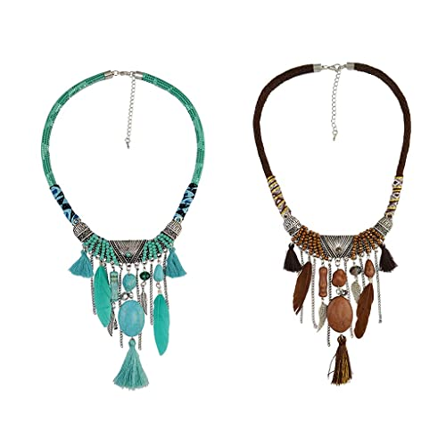 BOHO necklace with pendant tassel turquoiseBrown