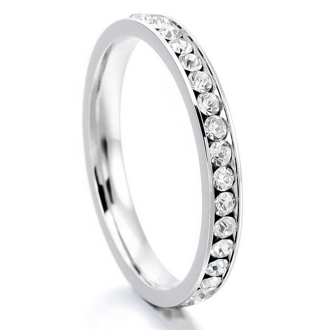 INBLUE Women's Stainless Steel Eternity Ring Band CZ White Wedding Size11