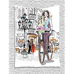 Supersoft Fleece Throw Blanket Fashion House Girl with Bike and Roses in a Street Old Town Musician Romantic Tour in City Pink