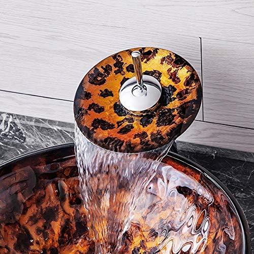 洗面化粧台シンク ラウンド手描き浴室芸術ガラス容器シンクオイルラバーブロンズの蛇口、ポップアップコンボドレイン 和風 洋風 お洒落な 節水 節約 (Color : Brown, Size : 42x42x14.5cm)
