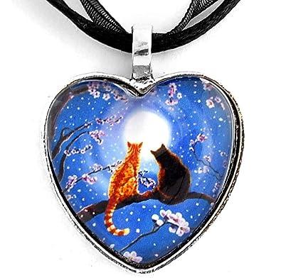 Amazon.com: Azul Corazón Collar Dos Gatos Naranja atigrado ...