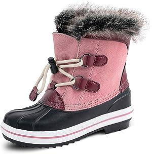 HZSTAY Cow Suede Leather Girls Waterproof Winter Outdoor Snow Boots(Litter Kids/Big Kids)