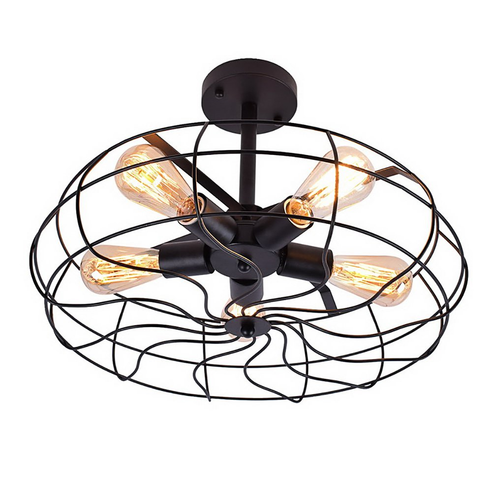OYI Retro Industrial Fan Style Metal Cage Ceiling Light, 5 Lights Semi Flush Mount Rustic Pendant Light Lamp Hanging Light Fixture E26 Bulb Base (Black Color)