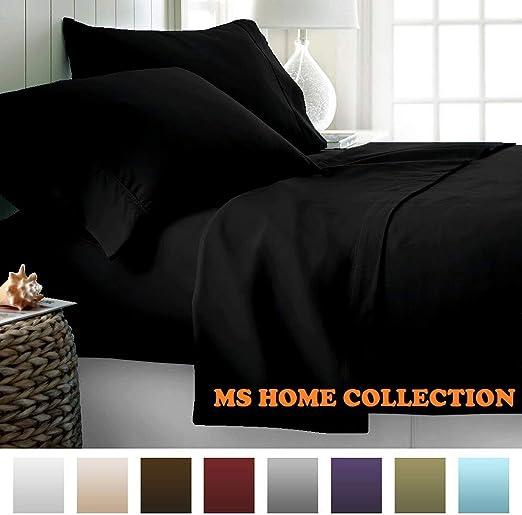 MS Home Collection Luxuary - Juego de sábanas de satén de algodón ...
