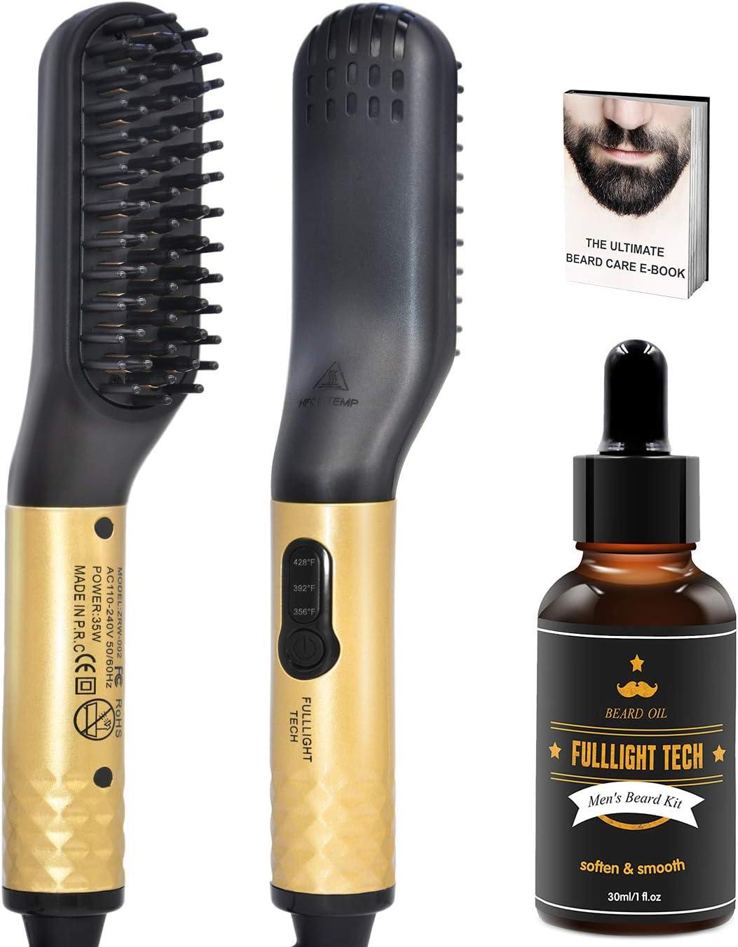 Cepillo Alisador de Barba,Peine Alisador Barba Hombre con 30ml Peine para Barba eBook gratuito de barba,único kit cuidados barba día del padre regalo original san valentin cumpleanos regalo hombre