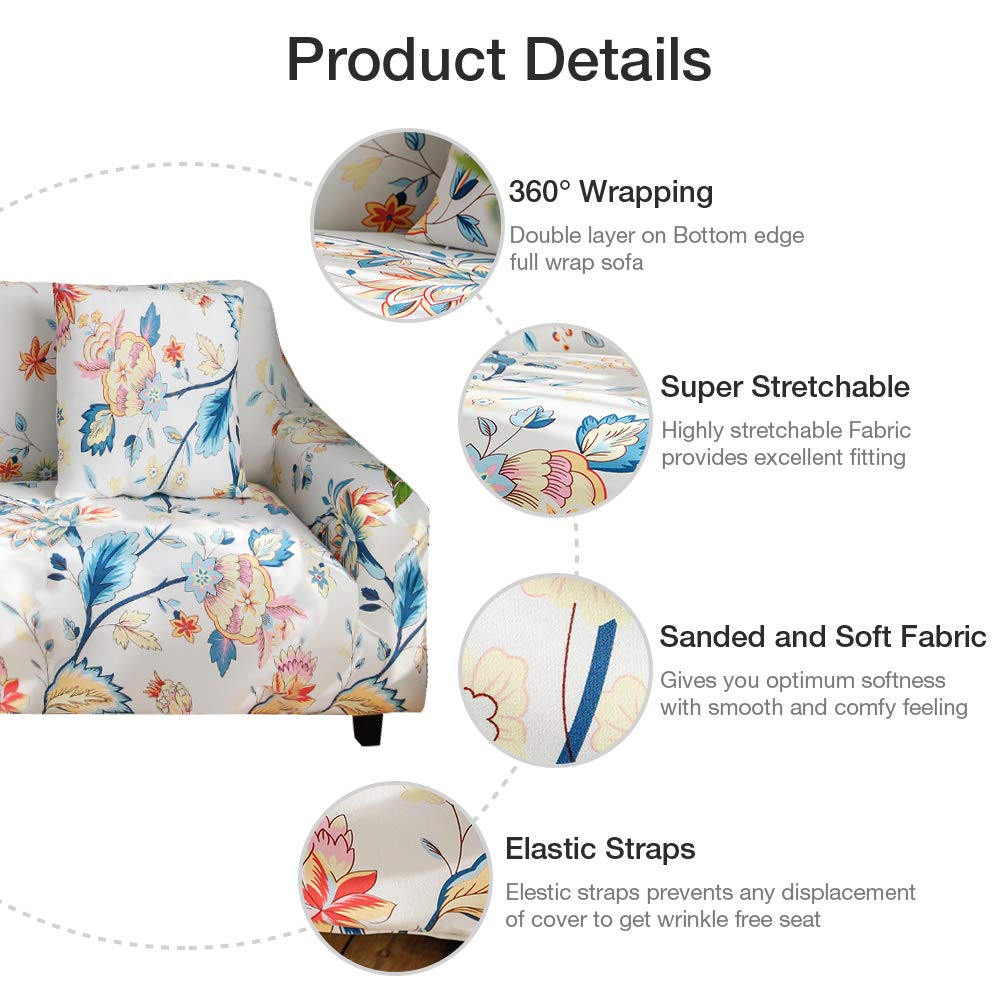 Bikuer Printed Spandex Sofa Cover Stretch Couch Cover Sofa Slipcovers for 4 Cushion Couch with 2 Free Pillow Cover Sofa-4 Seats, Blooming Flower