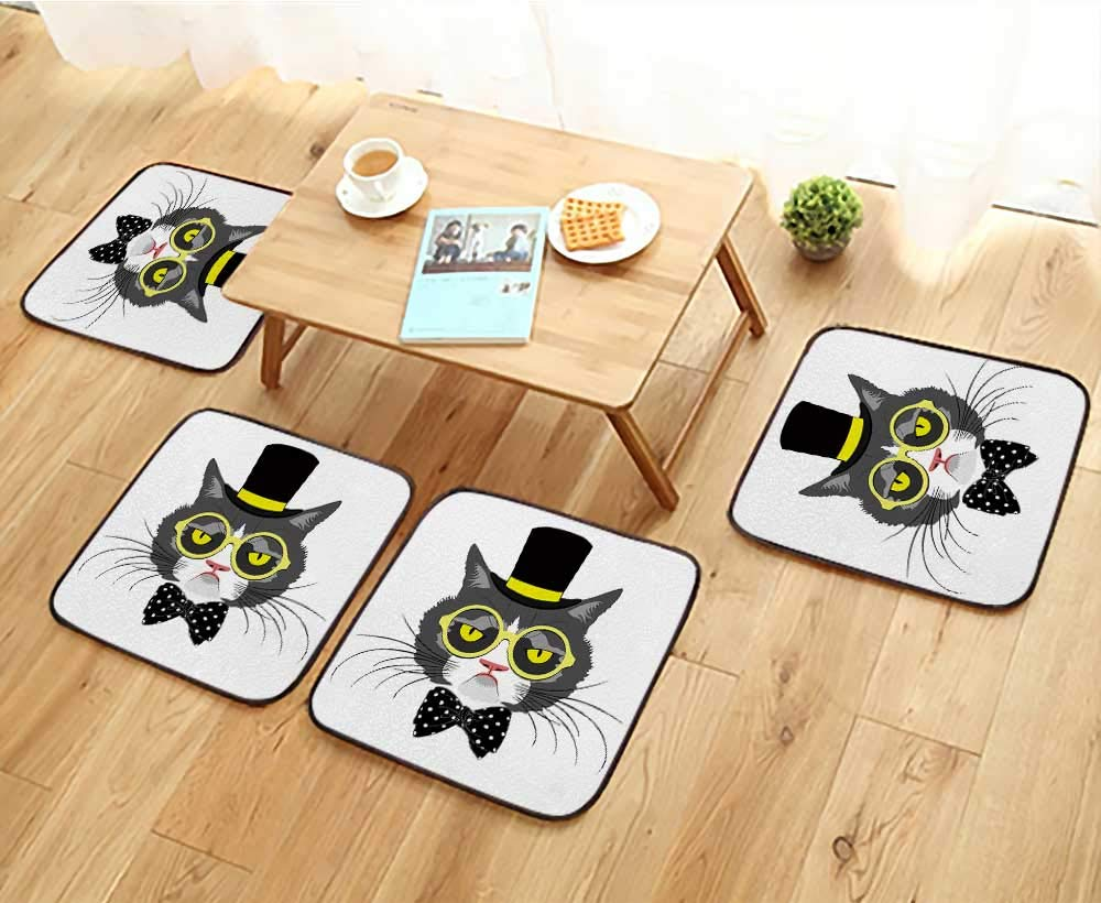 Jiahonghome Luxurious Household Cushions Chairs Vector Animal,Portrait of cat in Tall hat with Polka dot Bow and Round Yellow Glasses Soft and Comfortable W31.5 x L31.5/4PCS Set