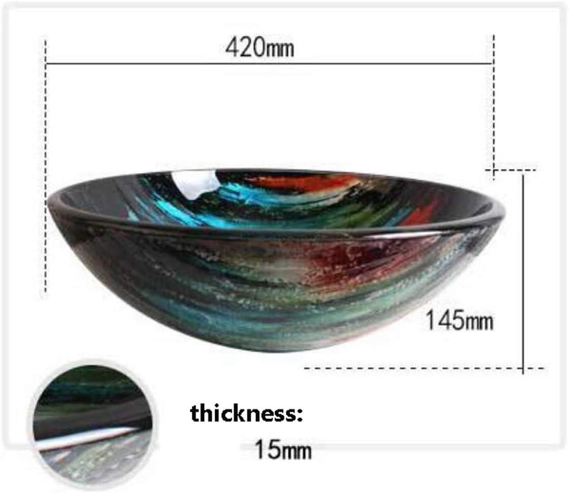 NANXCYR Bathroom Artistic Vessel Sink Round Tempered Glass Vessel Sink Combo Bathroom Bowl Basin with Pop up Drain Set