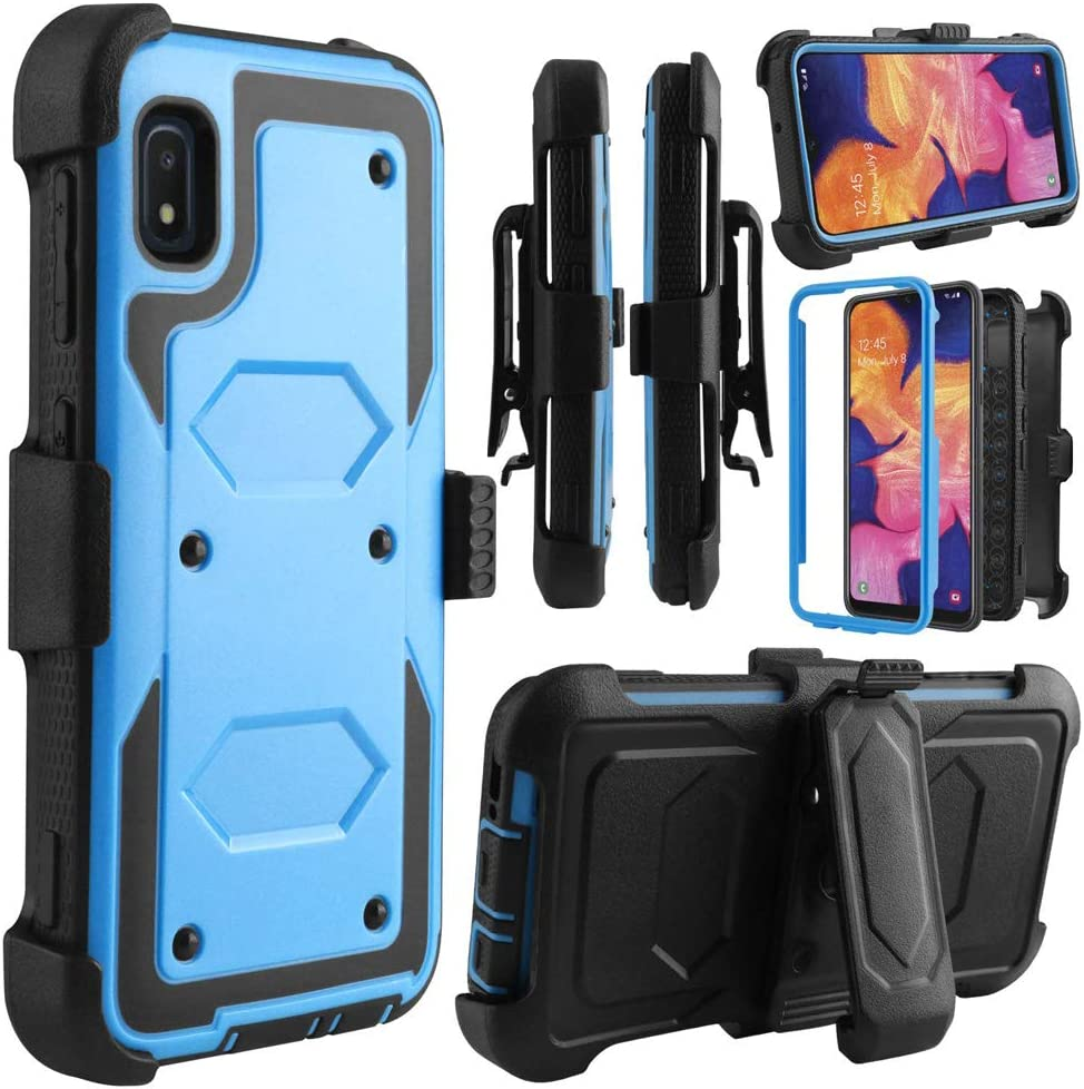 Telegaming Samsung A10e Case, Galaxy A10e Case, with Screen Protector Swivel Belt Clip Holster, Shock Absorption Heavy Duty Hybrid Amor Phone Case for Samsung A10e Blue