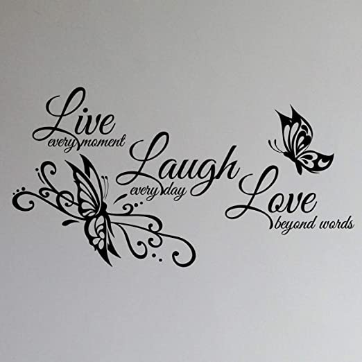 Amazon Com Innovative Stencils Live Love Laugh Family Wall Decor Decal Art Sticker 24 Wide X 12 High 1468 Matte Black Home Kitchen