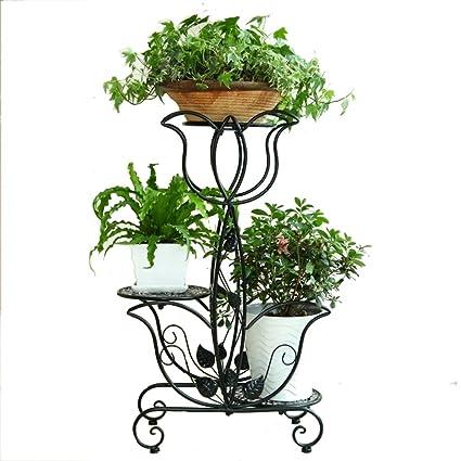 BSNOWF-bastidores de flores Soporte de la flor negra Arte del hierro Balcón interior Sala