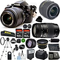 D3200 24.2 MP CMOS Digital SLR, NIKKOR 18-55mm f/3.5-5.6 Auto Focus-S DX VR, Tamron 70-300mm DI LD Zoom, 2pcs 16GB BaseDeals Memory, Case, Wide Angle, Telephoto, Flash