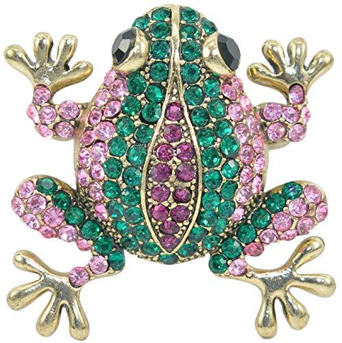 Gyn&Joy Czech Crystal Rhinestone Synthetic Opal Multi Color Frog Fashion Jewelry Pendant Pin Brooch (Emerald Green)