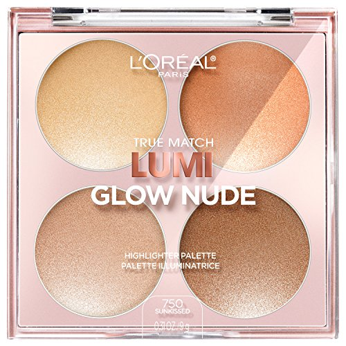 L'Oreal Paris Makeup True Match Lumi Glow Nude Highlighter Palette, customizable glow palette, highlighter, bronzer and blush, for a natural, illuminated look, 2 universal shades, Sun-Kissed, 0.26 oz.