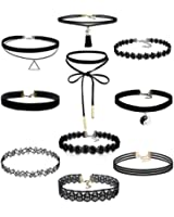 DZT1968 10Pieces Choker Necklace Set Stretch Velvet Classic Gothic Tattoo Lace Choker