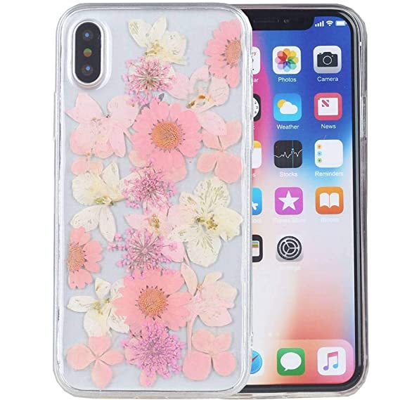 iPhone Xs Max Case, iYCK Handmade [Real Dried Flower and Leaf Embedded]  Pressed Floral Flexible Soft Rubber Gel TPU Protective Shell Back Case  Cover