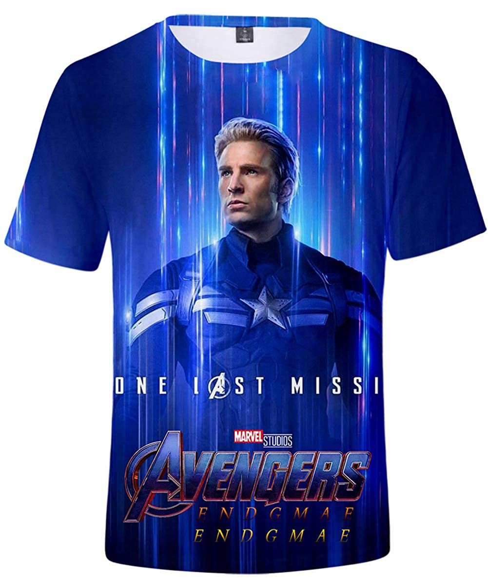Unisex Avengers Supereroe T-Shirt Captain America Manica Corta Hulk Iron Man
