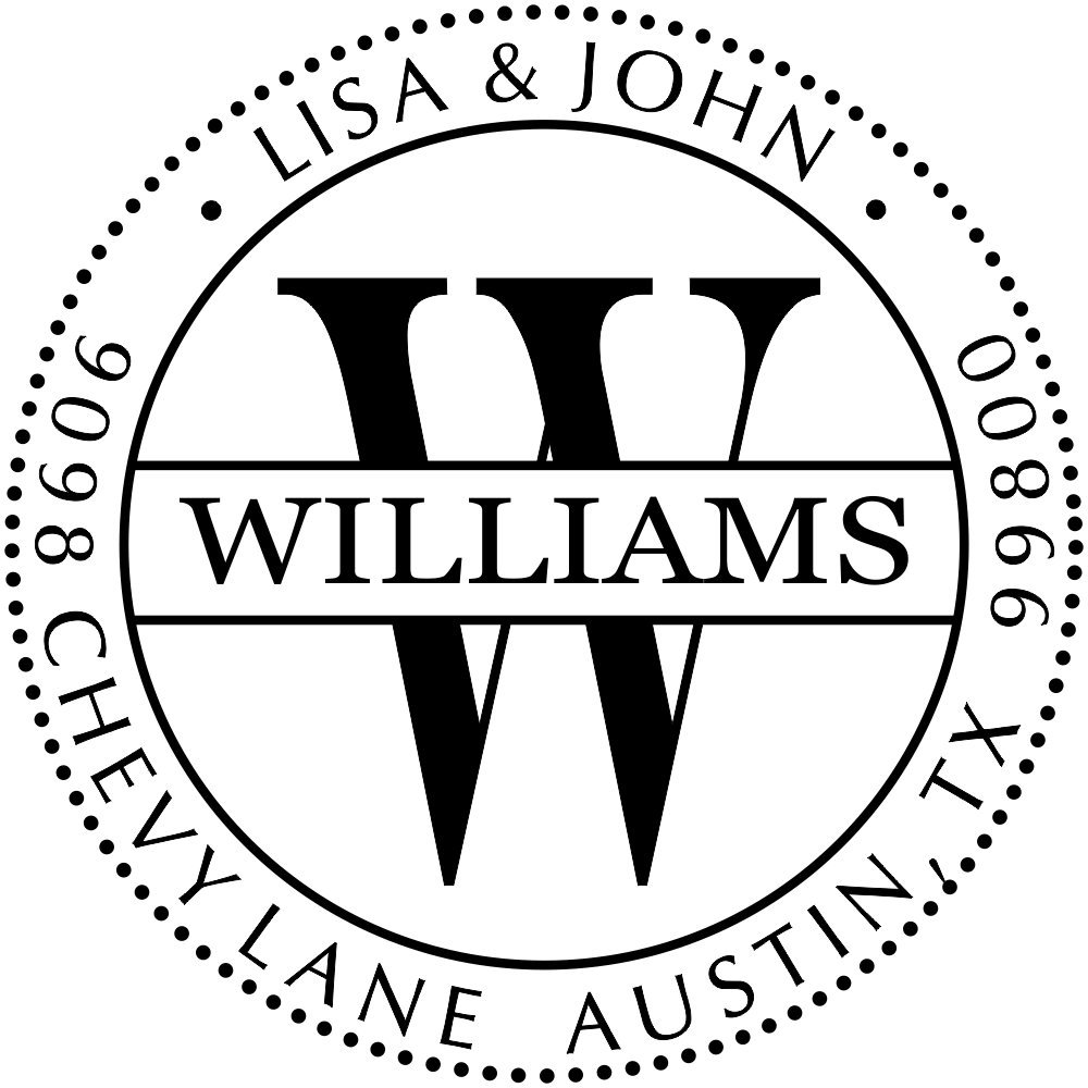 Custom Monogram Address Stamp Dot Border | Custom Return Address Stamp | Self-Inking Stamp | Personalized Address Stamps | by Holmes Stamp & Sign