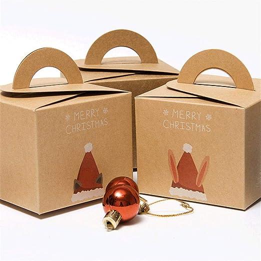 True-Ying - Caja de Regalo de Papel Kraft para Navidad, Papá Noel ...
