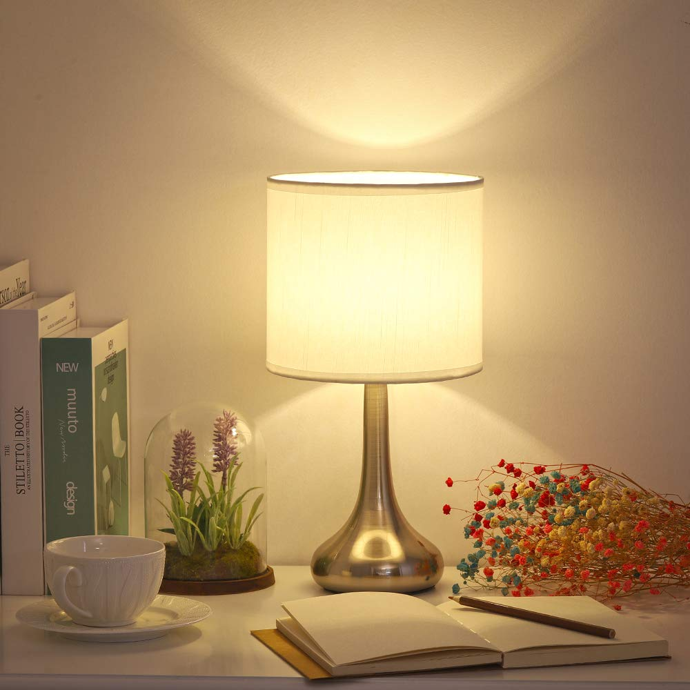Coffee Table Sliver Metal Table Lamp for Living Room Small Modern Nightstand Lamp with White Fabric Shade and Brushed Sand Nickel Basic Girl Silver Den Hotel HAITRAL Bedside Table Lamp