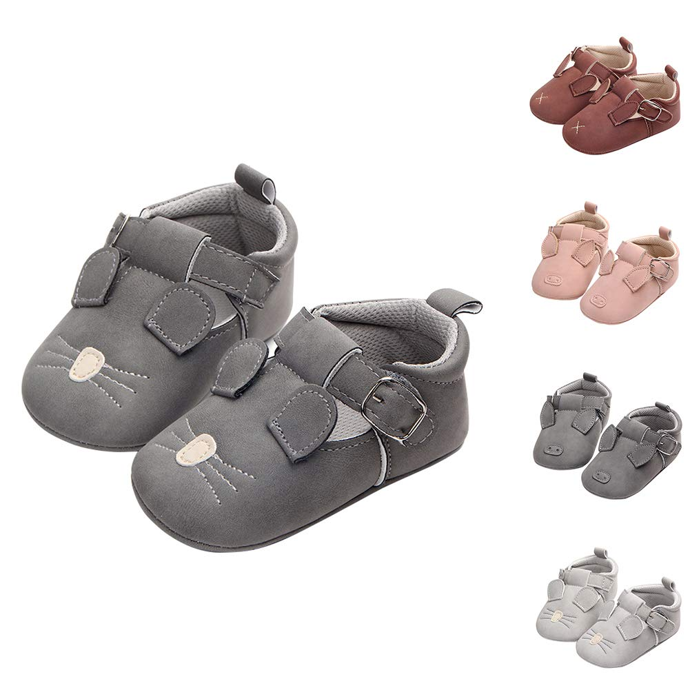 Alamana Cute Rabbit Pig Mouse Infant Baby Faux Leather Soft Sole Prewalker Toddler Shoes Dark Gray Pig 13cm