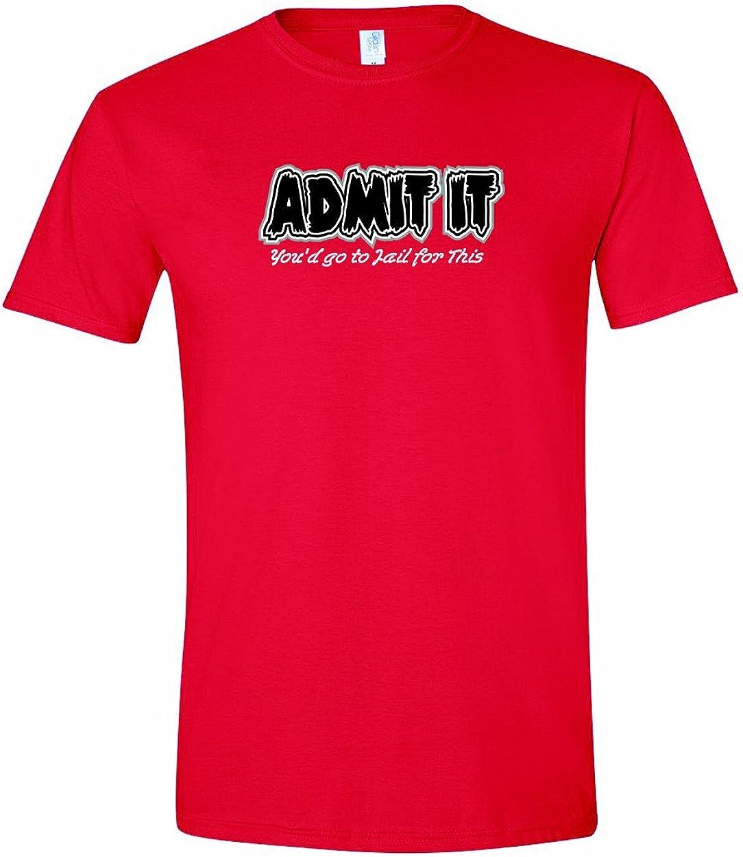 Hombres de admitir que usted podría ir a la cárcel para este divertido t-shirt-red-2 X: Amazon.es: Ropa y accesorios