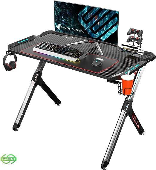 EUREKA ERGONOMIC R1-S Escritorio para juegos escritorio para computadora de juegos mesa para juegos escritorio para jugadores de PC con luces RGB: Amazon.es: Hogar