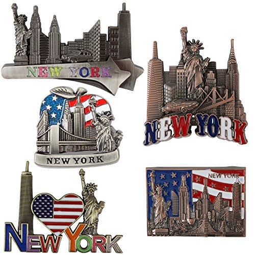Bundle (5) Fridge Magnets new york Souvenir Empire State Building Skylines,Statue Of Liberty,Taxi