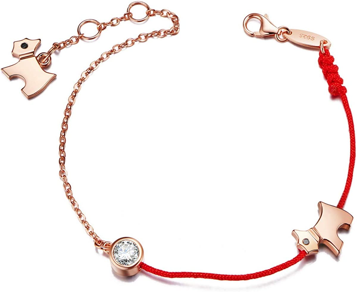 Bijoux pour Femme SHEGRACE Bracelet Femme en Argent 925 Sterling avec AAA Zircon Fil Rouge R/églable Cadeaux pour Femme//Fille//Copine//Petite Amie//Soeur