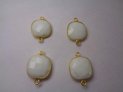 Verdadera blanca Chalcedon piedras preciosas Connector - 14 ...