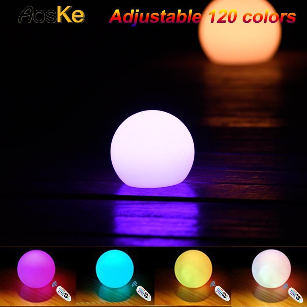 AosKe 6-inch Floating LED Pool Glow Light Orb Ball Night light Outdoor Living Garden Light Decor Waterproof Color Changing Ball for kids children's Room
