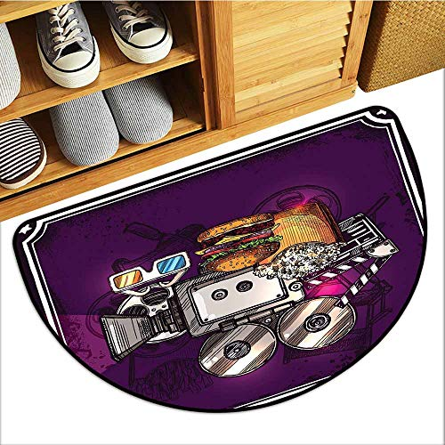 Tile Collection Images Glass - TableCovers&Home Absorbent Door Mat, Modern Custom Doormats for Office, Cartoon Like Cinema Movie Image Burgers Popcorns Glasses Watching Film (Purple Earth Yellow_1, H16 x D24 Semicircle)