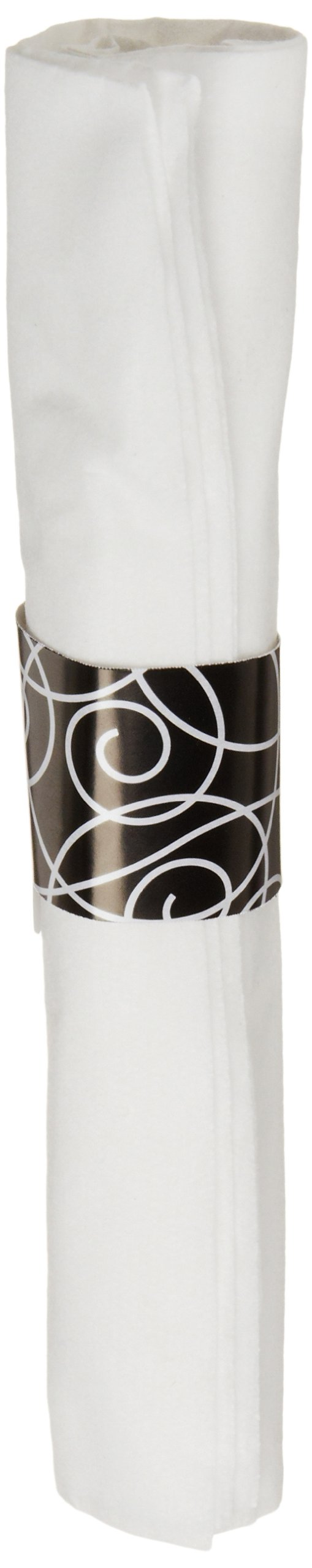 Hoffmaster 119971 Linen-Like CaterWrap Pre-Rolled Dinner Napkin and Heavyweight Cutlery, Silver Swirl, White/Black (Case of 100)