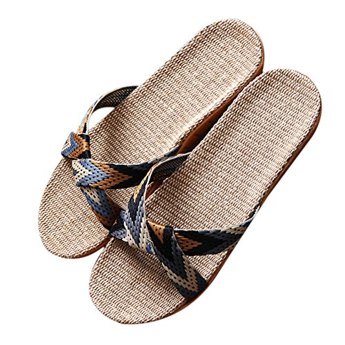 Spring Light Breathable Holiday Women Men's Autumn Lady TELLW Cotton Black Linen Hemp Summer 1 Indoor Slippers RH4Bwx8q
