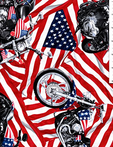 Motorcycles and US Flag Cotton Fabric Fat Quarter