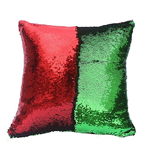 Livingly Light Mermaid Discoloration Magic Sequins Throw Pillow DIY Free Style Creative Decor Cushion in Room Sofa Bed Car, Fresh Green & Red, Covers Only - Snowflake Embroidered Sheet Sets