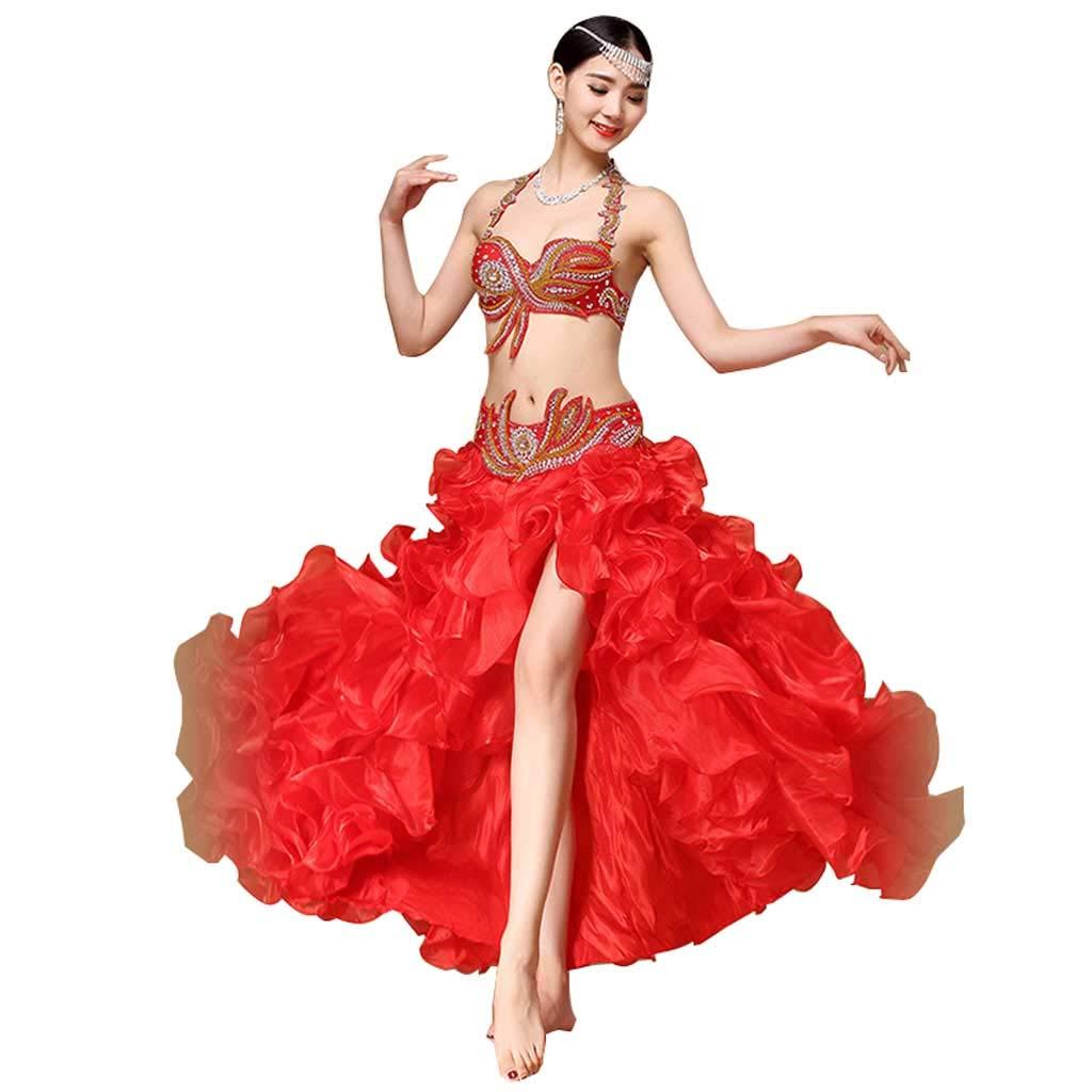 レディースベリーダンスセットパフォーマンスウェアブラウエストガウンビッグスイングスカート (Color : 赤, Size : M) 赤 Medium
