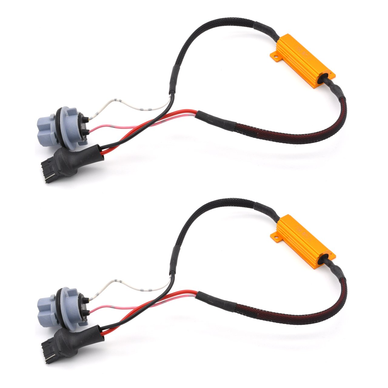 KaTur 2pcs 50W 8ohm 3156 3156A 3456 Led Load Resistors - Fix LED Bulb Fast Hyper Flash for LED Turn Signal Light Blink or LED License Plate Lights Error