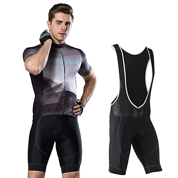 Hony Cycling Suits for Mens - Short Sleeve Jerseys with Padded Shorts  Tights Pants Outdoor Riding eaa12c5ba
