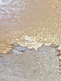 REVERSIBLE MERMAID PEARL SEQUIN SPANDEX FABRIC BY THE YARD MAGIC PILLOW FLIP UP DRESS SEQUINS SEXY GLO (Matte Khaki/Matte Silver)