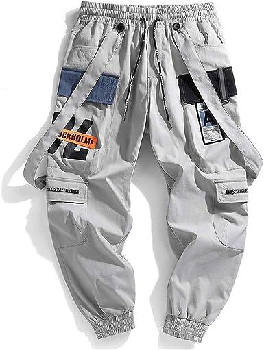 Hombres Cintas Pantalones Cargo Hombres Harajuku Casual Joggers Track Streetwear Pantalones Hip Hop Harem Pantalones Techwear Gray L Amazon Es Ropa Y Accesorios