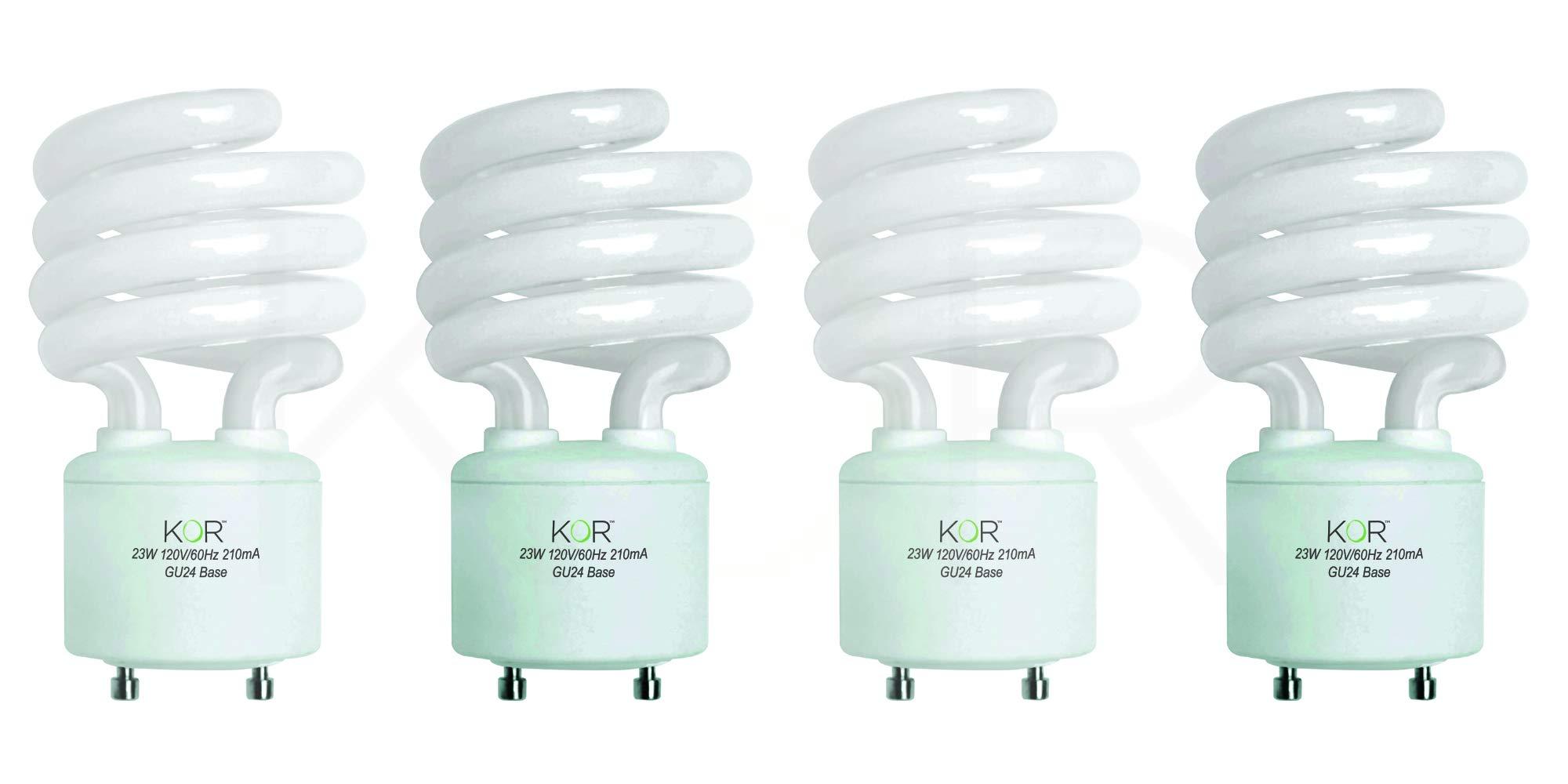 (Pack of 4) 23 Watt Mini Spiral - GU24 Base - (100W Equivalent) - T2 Mini-Twist - CFL Light Bulb - 5000K Bright White