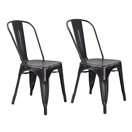 Set of 2 Metal Antique Dining Chairs with Back Industrial Chic (Antique  Black) - Amazon.com: Set Of 2 Metal Antique Dining Chairs With Back