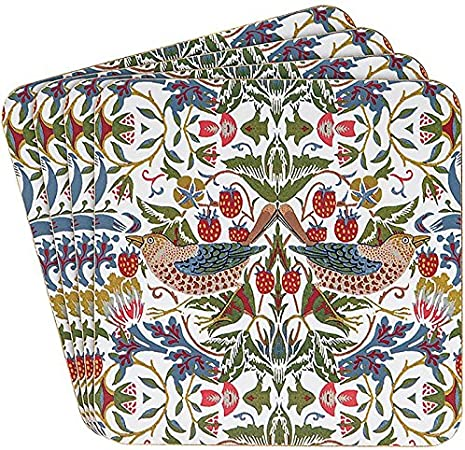 William Morris White Strawberry Thief Design Mélamine Plateau Petite Moyenne Grande